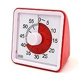 スタディタイマー 60分 Time アラーム音付き ダイヤルタイマー キッチン 調理時計 幼児教育 学習用 操作簡単 時間管理 ツール Timer Red