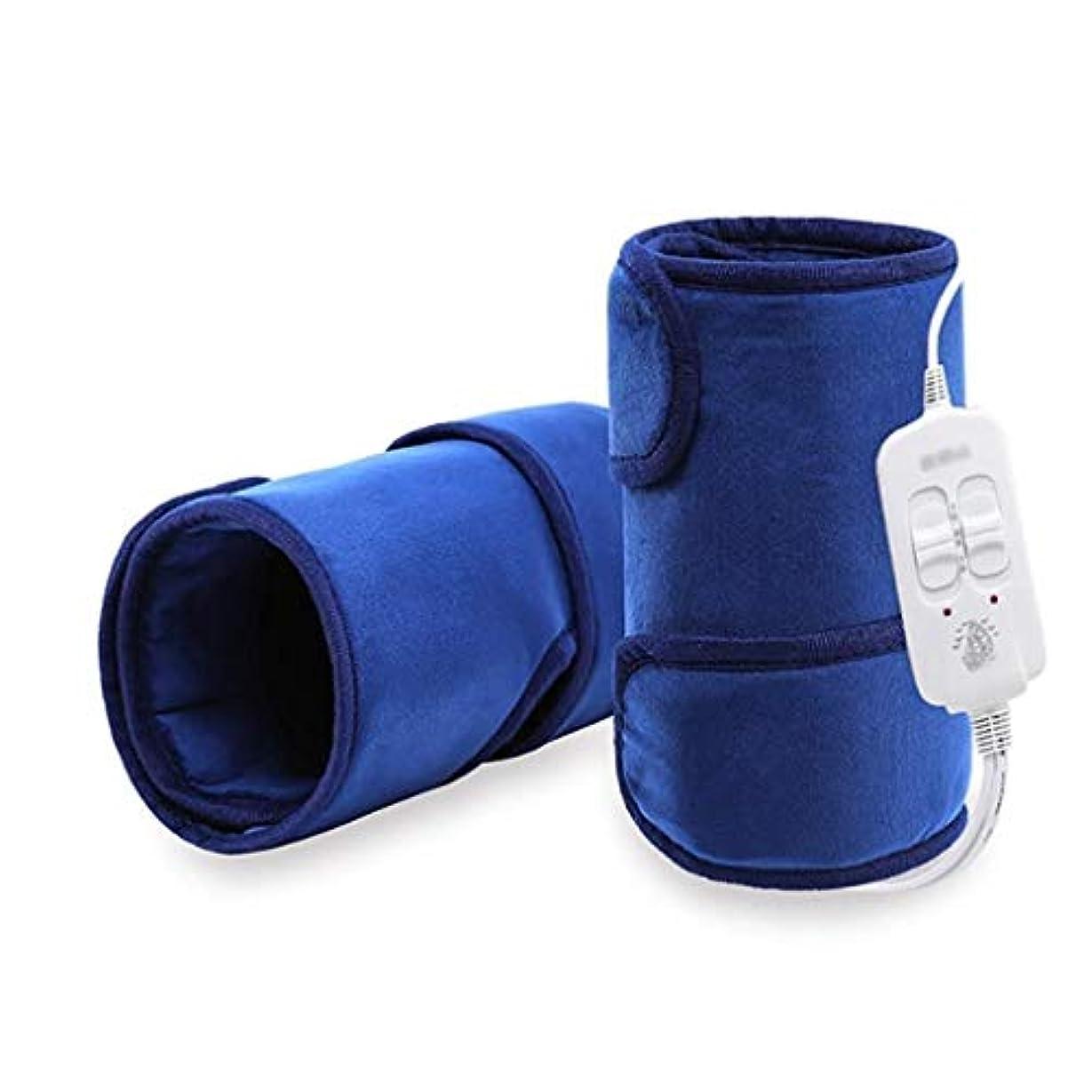 運河テキスト二レッグケアマッサージャー、加熱膝パッド、脚Pad/温かい/温湿布/遠赤外線、血液循環を促進 (Color : 青)