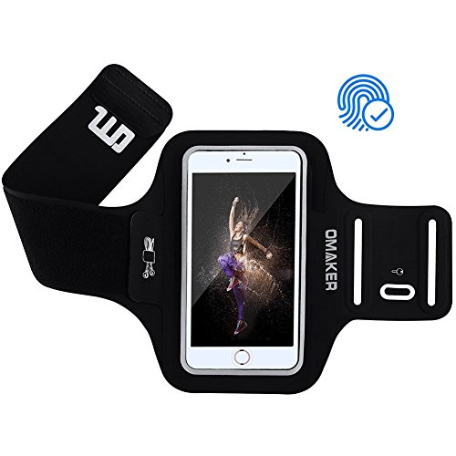 Omaker 新型 アームバンド ランニング スポーツ用 iphone指紋認証 夜間反射材料 カード収納 超薄型軽量 調節可能好 通気性 iphoneX 8 7 6 Plus Samsung Androidなどスマホ 5.5インチまで対応