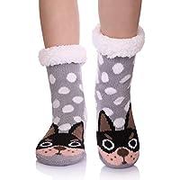 YEBING Kids Boys Girls Slipper Socks Cute Animal Fuzzy Winter Warm Fleece Lining Christmas Socks With Grippers