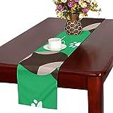 GGSXD テーブルランナー 親しい グリーン猫 クロス 食卓カバー 麻綿製 欧米 おしゃれ 16 Inch X 72 Inch (40cm X 182cm) キッチン ダイニング ホーム デコレーション モダン リビング 洗える