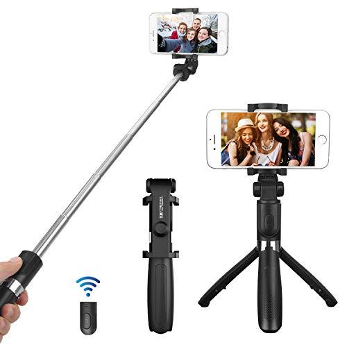 GENTROCK 自撮り棒(三脚/一脚) Bluetooth セルカ棒 小型軽量 360度回転 セルフィースティック アルミ合金 ワイヤレスリモコン付き iPhone/Android対応