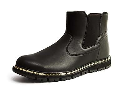 [エドウィン] (リベルト LiBERTO レインブーツ ブーツ メンズ サイドゴア 防水 防滑 防寒 スノー ワークブーツ ショートブーツ 靴 シューズ 25.5cm Black ブラック 黒色