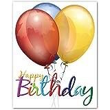 Happy Birthdayグリーティングカード バルーン 内側は白紙 カードと封筒12枚入り 5.5インチ×4.25インチ 12パック