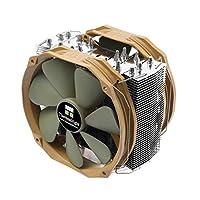 CPUヒートシンク、8つのヒートパイプ(2066 / 115X / AM4 /ダブル14cmファン/すべての金属バックルをサポート) (Color : Brown)