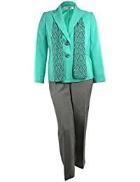 Le Suit Women 's Water Lilies Woven Pant Suit Withスカーフ