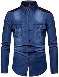 gawaga メンズファッション洗浄デニムロングスリーブパッチワークフォークススエードウエスタンシャツ