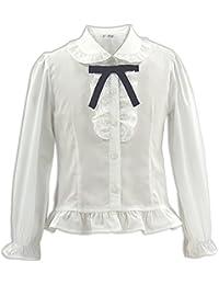 フルサイズ (オンスクール) OnSchool 1503 リボン付フリル 長袖 綿混 ブロード ブラウス 白