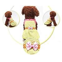 FidgetGear 夏の小さなペット犬子犬ちょう結びノースリーブスカートドレス服アパレル衣装 黄