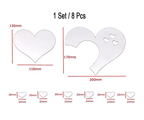 ITTA 3Set/15pcs 3D Acrylic Love Heart Mirror Wall Stickers Removable Heart Art Decor Wall Poster Living Room Wedding Room Home Decoration (Silver)