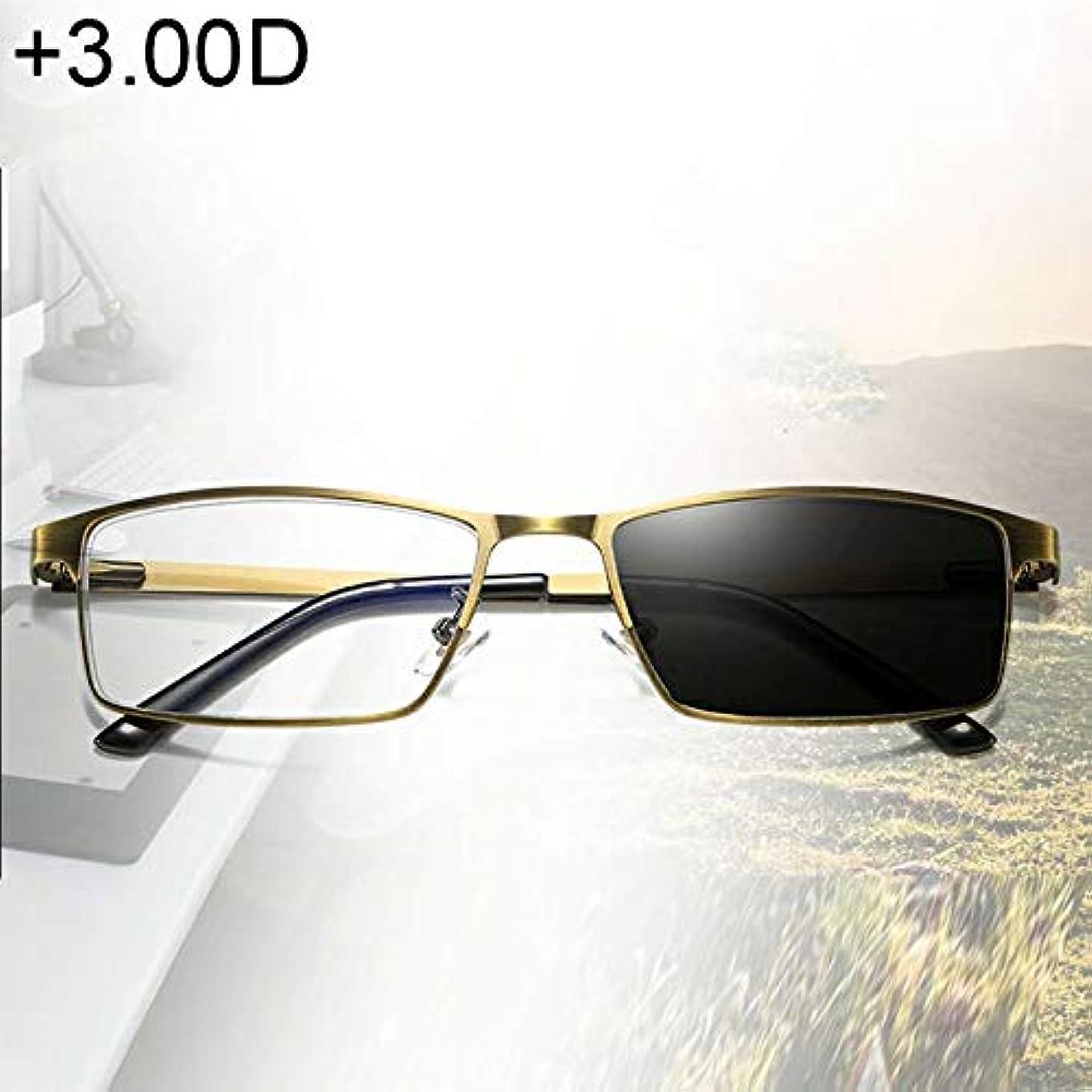 挨拶する噴出する側面XIEWEI 兼用フォトクロミック老視メガネ、+ 3.00D(ゴールド)YANG (色 : Gold)