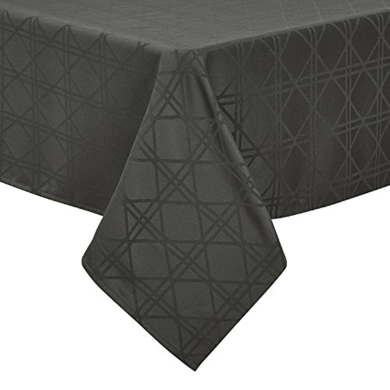 Deconovo テーブルクロス ジャカード生地 幾何柄 撥水加工 グレー 140cmx180cm