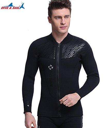 ウェットスーツ タッパー ジャケット メンズ 3mm ダイビング フロントファスナー 裏起毛素材 保温性優れる