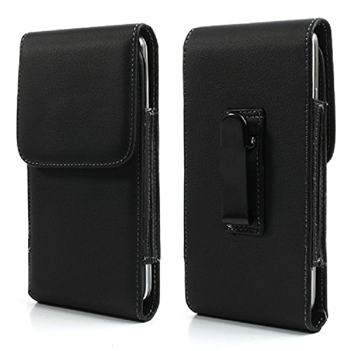 DFV mobile - Leather Flip Belt Clip Metal Case Holster Vertical for => Axioo X-One > Black