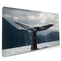 40*90CM超大型 マウスパッド クジラのテール 光学式 ゲーミング ゲーム向け 防水 滑り止め 耐洗い表面 キーボード オフィス テーブル デスクマット