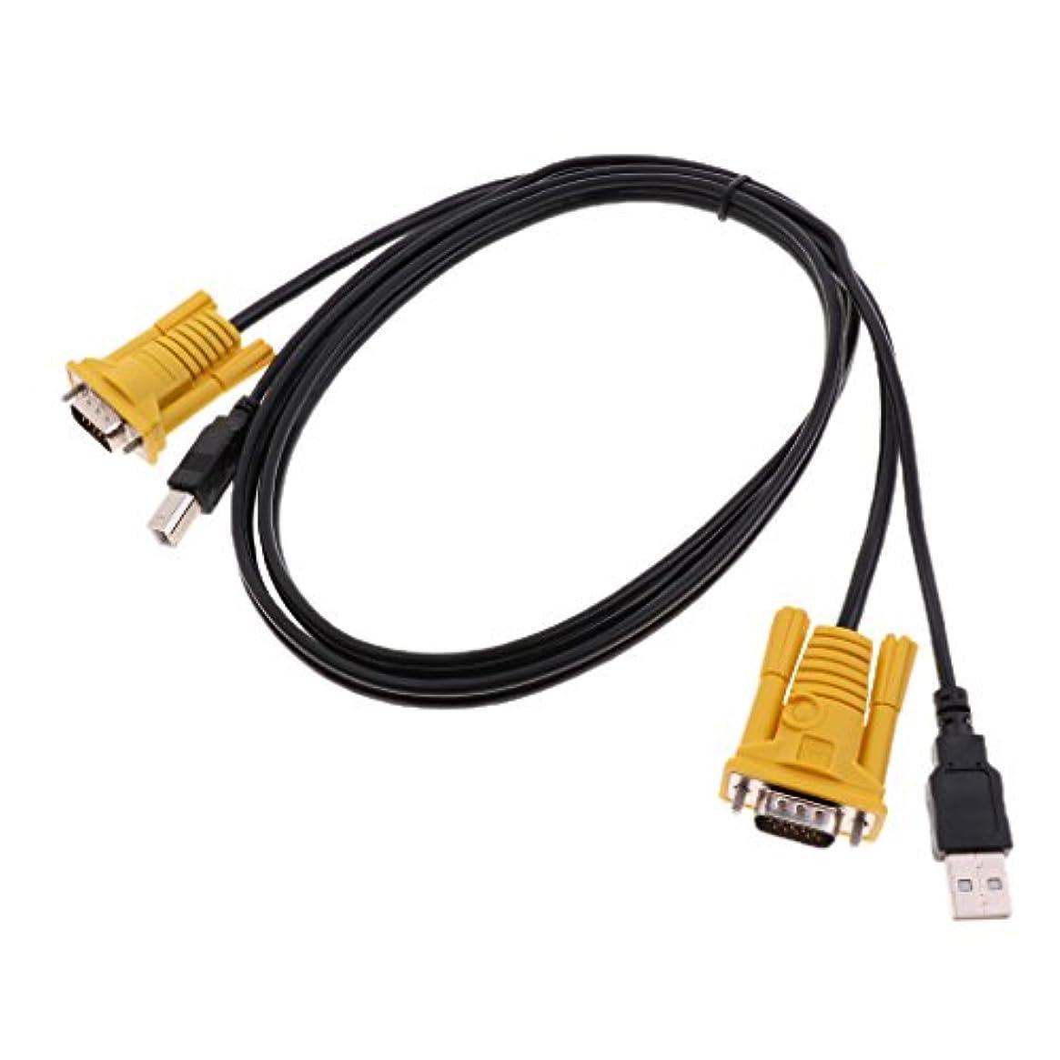 均等に議論する水銀のPerfk 金属 KVM スイッチケーブル USB オス→BM デュアル オス VGAケーブル コンピュータ用 3-in-1