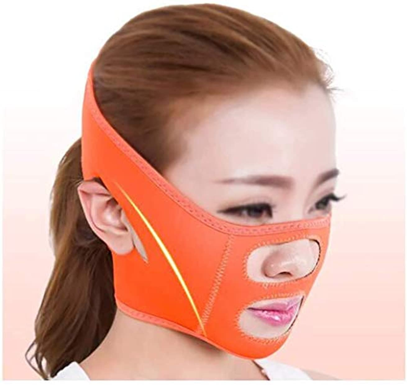情熱的電気でるSlim身Vフェイスマスク、ファーミングフェイスマスク、術後リフティングマスクホームバンデージシェーキングネットワーク赤女性Vフェイスステッカーストラップ楽器顔アーティファクト(色:オレンジ)