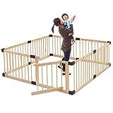 RiZKiZ 木製ベビーサークル ドア付き 【ナチュラル】 8枚セット 高さ55cm 大きさ、形組み換え可能 簡単設置