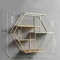 ウォールシェルフ 北欧の錬鉄製クリエイティブな六角形の壁掛けラック/パーソナライズショップ壁産業風装飾フレーム(70 * 20 * 60センチメートル)。 (色 : ゴールド)