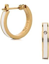 (Selena Jewelry) CZ ダイヤモンド フープピアス イエローゴールド コーティング Classic White クラッシックホワイト ((A.) スタンダードパッケージ)