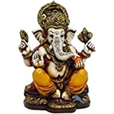 The Blessing. A Coloured & Gold Statue of Lord Ganesh Ganpati Elephant Hindu God Made from Marble Powder in India