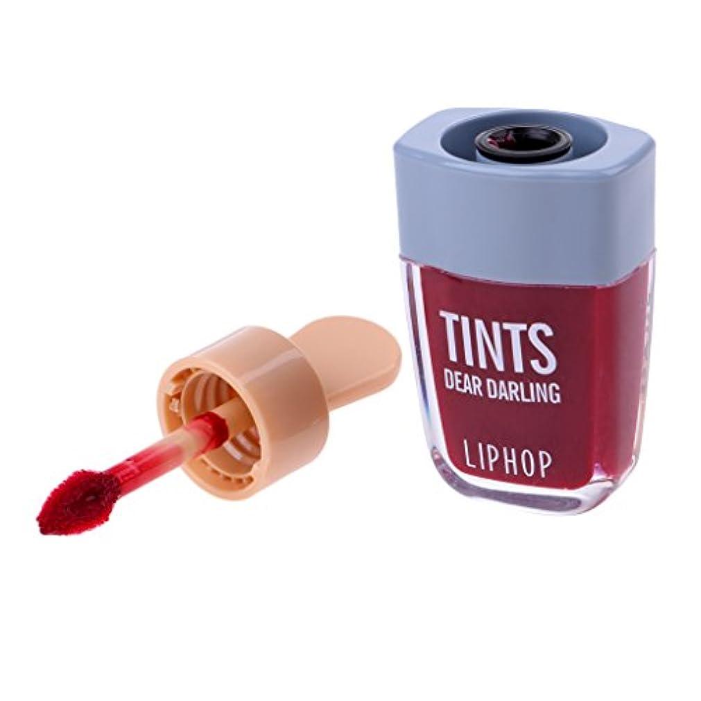 凝縮するみぞれチーム口紅 メイクアップ リップグロス リップステイン リップウォーター メークアップ 6色選べる - ワインレッド