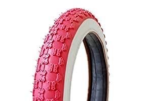 FastBikeLab [ ファストバイクラボ ] 14インチ キッズバイク用ワイドタイヤ&チューブ x 2 pcs セット / RED ( レッド ) & WHITE ( ホワイト )