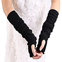 Lotus Leaf Edge Style Fingerless Elastic Stretch Arm Gloves Winter Warmer Long Arm Sleeve for Ladies Women Girl