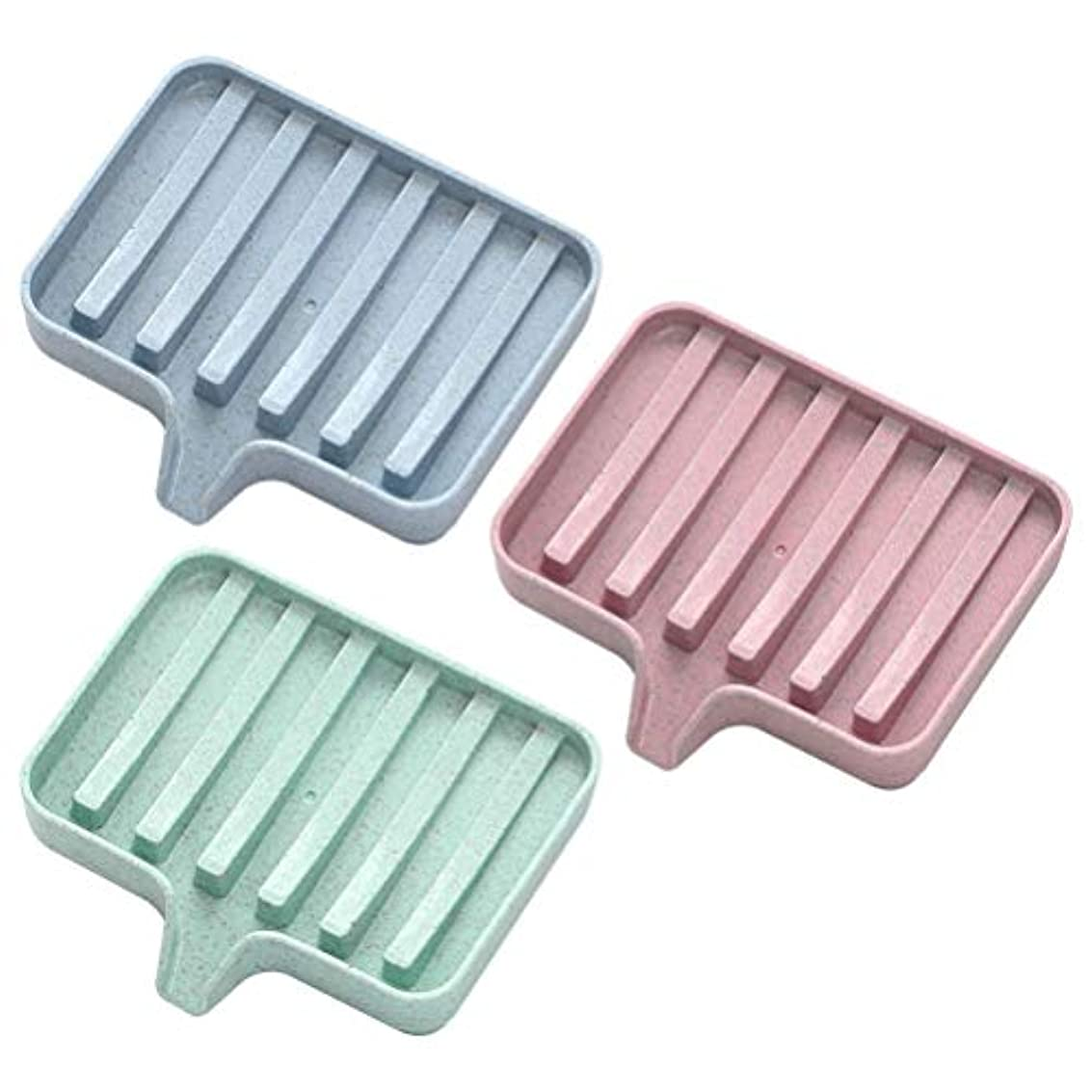 実験的厳密にたらいROSENICE ソリッドカラーソープディッシュソープボックスホルダードレイン3pcs(ピンク+グリーン+ブルー)