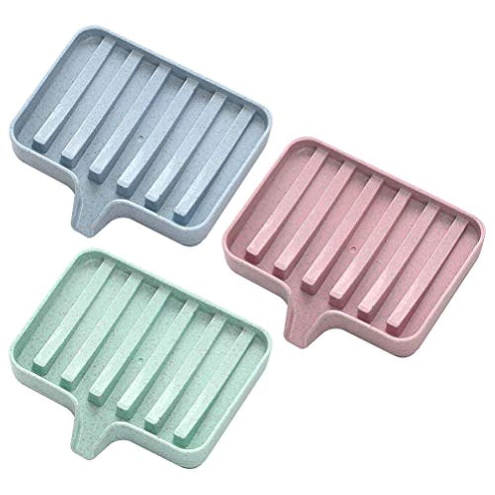 ストロークビルマバラ色ROSENICE ソリッドカラーソープディッシュソープボックスホルダードレイン3pcs(ピンク+グリーン+ブルー)