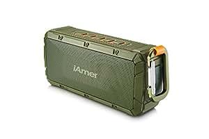 Bluetoothスピーカー、iAmer 防水機能 IPX6 屋外スポーツ ワイヤレスポータブルスピーカー10W ドライバー強化された低音はブルートゥースの 4.0/内蔵マイク/ハンズフリー ブルートゥース スピーカー(アーミー グリーン)