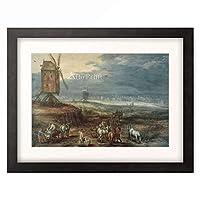 ヤン・ブリューゲル(父) Jan Brueghel de Oude 「Landscape with windmills」 額装アート作品