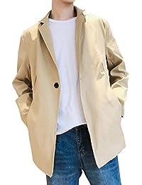 (エレガンザー)トレンチコート メンズ おしゃれ 春 スタンドカラー スリム 無地 春服 防風 ロングジャケット スプリングコート ブラック/ベージュ