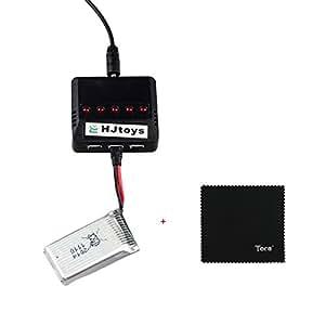 Tera® Hubsan X4 H107C H107D 用 空撮り ラジコン ヘリコプター リチウム バッテリー バランス 電池充電器 5in1 2点セット 380mah 3.7V 25C