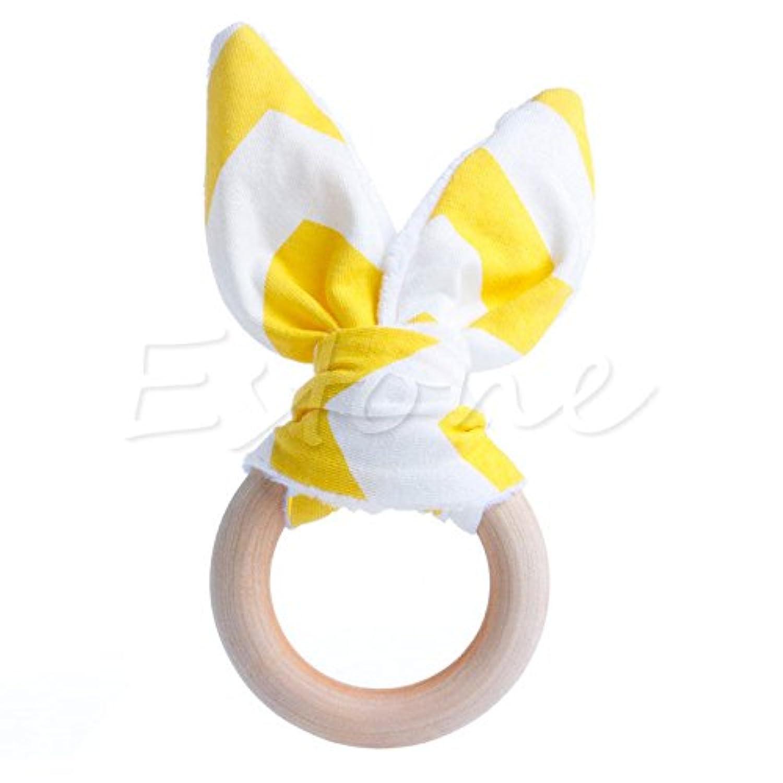 イエロー安全木製Natural Baby Teething Ring ChewieキュートTeether Bunny Sensory Toy