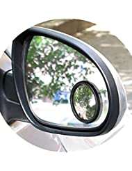 2個超薄型広角ラウンド凸ブラインドスポットミラー用駐車場リアビューミラー ブラック