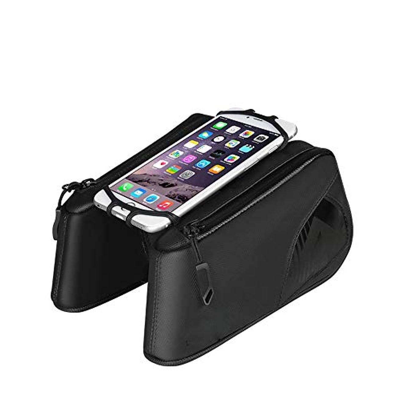 バッテリーポルノレバーサイクリングフレームバッグ 360°回転携帯電話ホルダー付きバイクフロントフレームバッグトップチューブバイクバッグバイクパニエバッグ 電話収納バッグ (Color : Black, Size : 20*10*5cm)