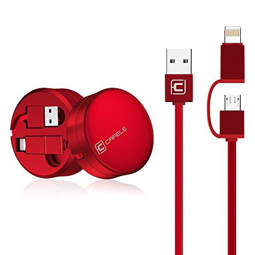 CAFELE 充電ケーブル 巻き取り式 ライトニングケーブル 2in1USBケーブル iPhone・Android両用 絡み防止 長さ1.3m データ転送 iPhoneXなどに対応 (レッド 2in1)