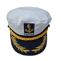 ROSENICE 大人のヨット ボート船長のセーラー コスチューム帽子キャップ海軍海兵隊大将 (ホワイト)