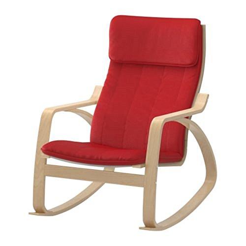 IKEA/イケア POANG:ロッキングチェア バーチ材突き板/ランスタ レッド (891.290.28)