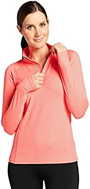 Solbari UPF 50+ Women's Active Quarter Zip Fitness Top - UV Protection, Sun Protec