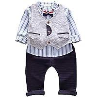 ALLAIBB Boys 3pcs Sets Long Sleeve Stripe Shirt Black Pants Matching Same Color Vest