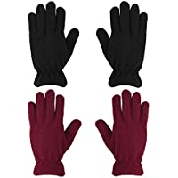 MENOLY 2 Pairs Kids Winter Gloves Winter Warm Polar Fleece Gloves for Boys Girls