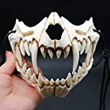 GB4 Japanese Halloween Mask,Japanese Tiger Cosplay Mask - Resin Mask Half Face White Skull Scary Mask,Cosplay Decorative Mask