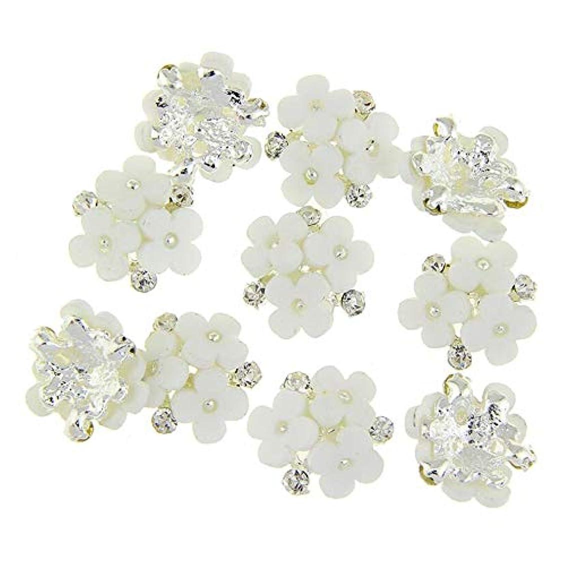確実一緒に納屋ネイルズ3D花銀合金チャーム用10個/ロット三花柄ラインストーンは、アートの装飾ネイル