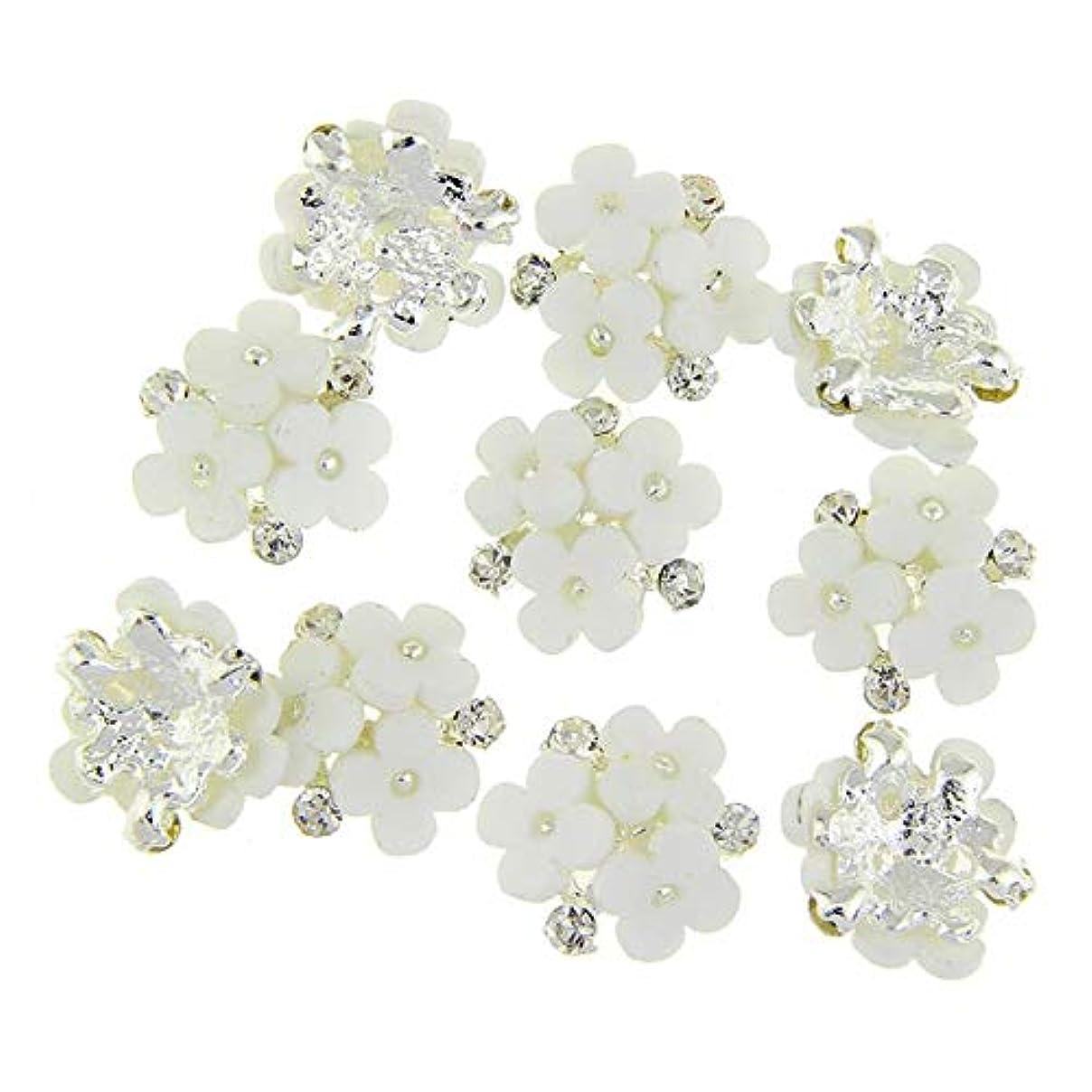 忙しい知っているに立ち寄る乳白色ネイルズ3D花銀合金チャーム用10個/ロット三花柄ラインストーンは、アートの装飾ネイル