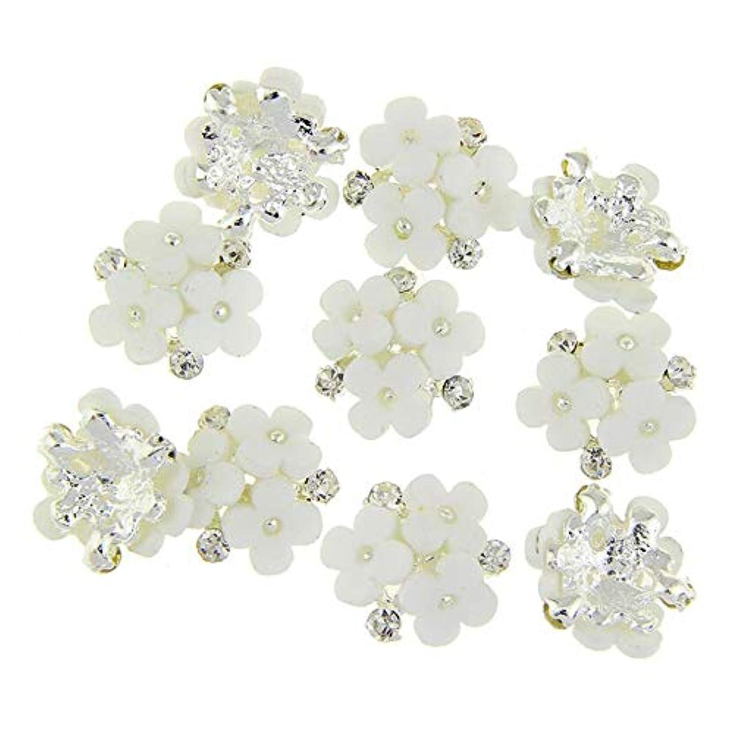 チャータースクレーパー笑いネイルズ3D花銀合金チャーム用10個/ロット三花柄ラインストーンは、アートの装飾ネイル