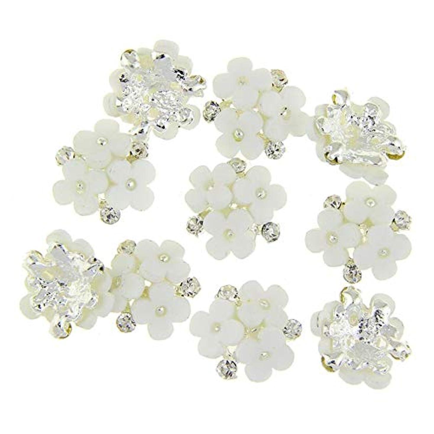レパートリープレミア反逆ネイルズ3D花銀合金チャーム用10個/ロット三花柄ラインストーンは、アートの装飾ネイル