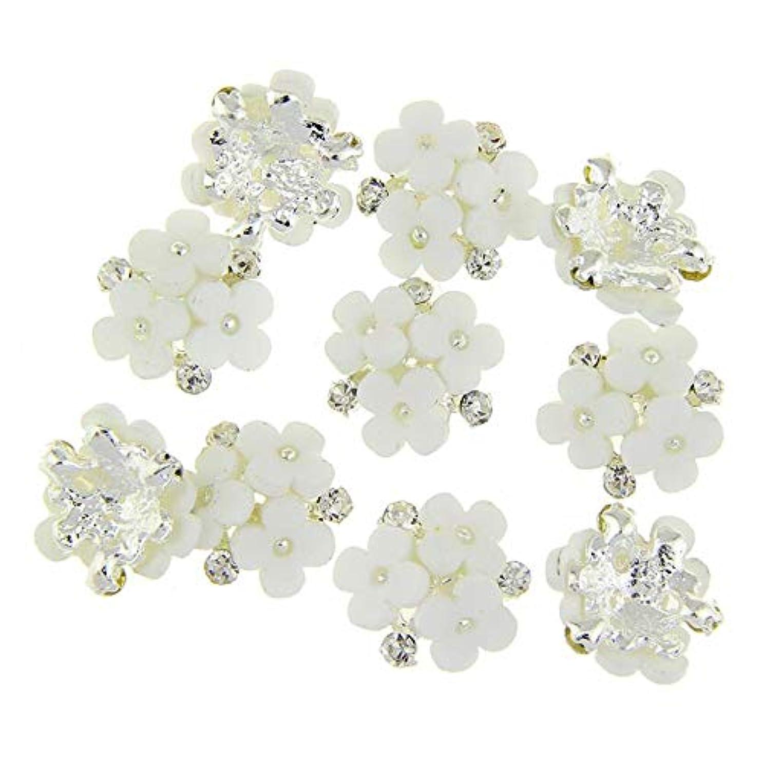 安西引き算成人期ネイルズ3D花銀合金チャーム用10個/ロット三花柄ラインストーンは、アートの装飾ネイル