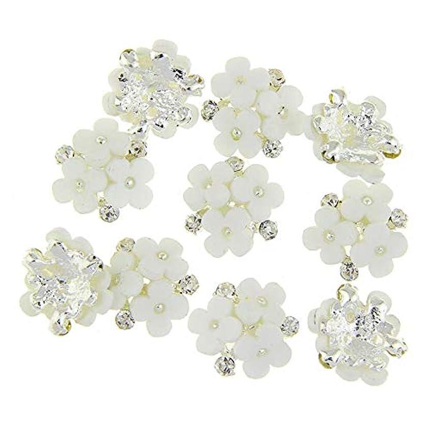 デザイナーのみ好きであるネイルズ3D花銀合金チャーム用10個/ロット三花柄ラインストーンは、アートの装飾ネイル